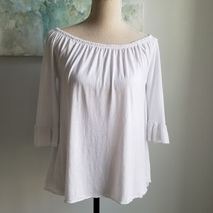 CHASER OFF SHOULDER RUFFLE SLEEVE TOP WHITE
